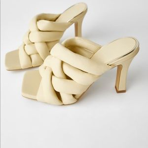 Zara padded woven leather heels size 6 NWT